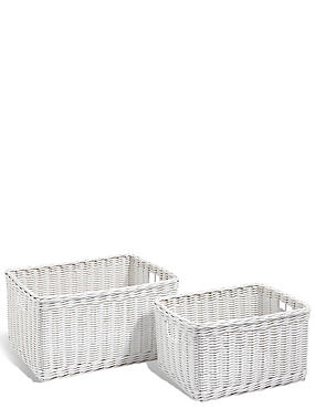 Rattan Set of 2 Storage Baskets