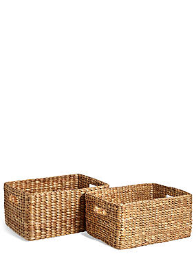 Water Hyacinth Set of 2 Storage Baskets