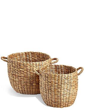 Water Hyacinth Set of 2 Round Baskets, , catlanding