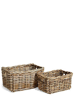 Kubu Rattan Set of 2 Storage Baskets