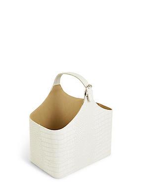 Faux Leather Magazine Rack, WHITE, catlanding