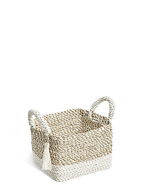 Raffia + Seagrass Small Storage Basket