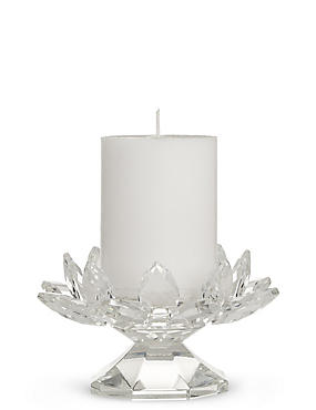 Cut Glass Pillar Candleholder with Candle