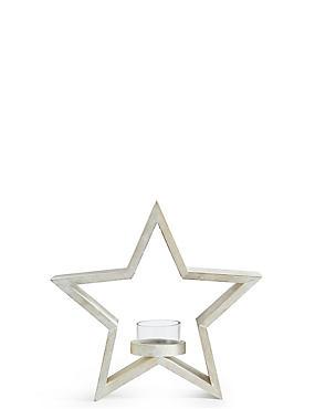 Small Wooden Star Tea Light Holder, , catlanding