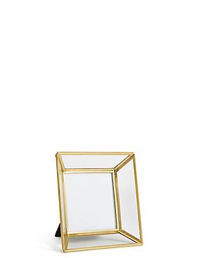 Glass & Brass Photo Frame 10 x 10cm (4 x 4 inch), , catlanding