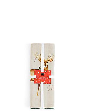 Set of 2 Deer Print Tea Towels, , catlanding