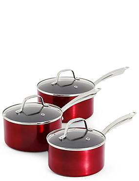 Metallic Effect 3 Piece Saucepan Set