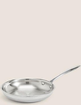 Chef Tri Ply 20cm Textured Fry Pan, SILVER, catlanding