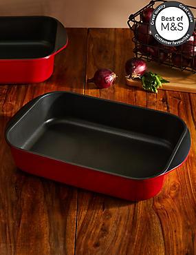 Chef Cast Aluminium 30cm Roaster, RED, catlanding