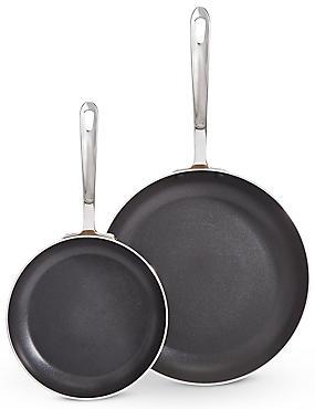Set of 2 Metallic Effect Frying Pans, , catlanding