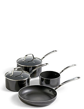 4 Piece Black Saucepan & Fry Pan Set