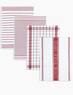 4 Pack Assorted Design Tea Towels, RED, catlanding