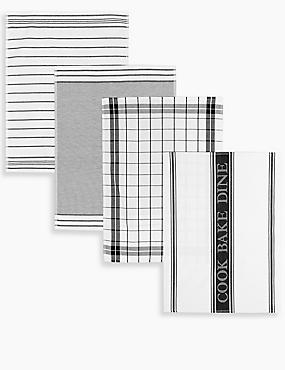 4 Pack Assorted Design Tea Towels