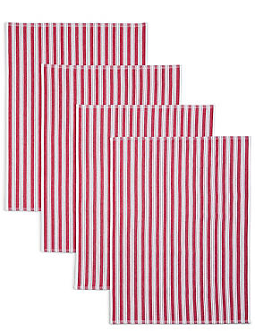 4 Pack Basket Weave Tea Towels, RED MIX, catlanding