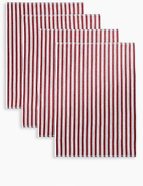 Set of 4 Pack Basket Weave Tea Towels, ROUGE, catlanding