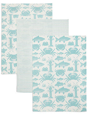 3 Pack Seaside Print Tea Towel, , catlanding