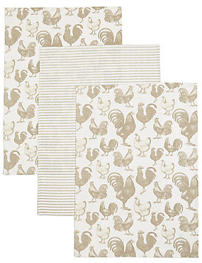 Set of 3 Hens Print Tea Towel