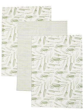 3 Pack Garden Print Tea Towel