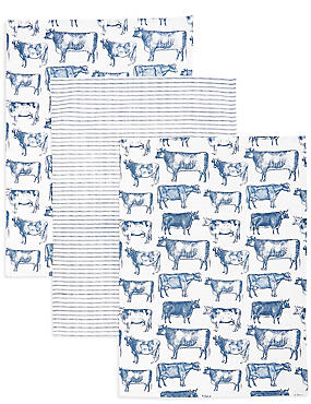 3 Pack Country Cow Kitchen Print Bale, , catlanding