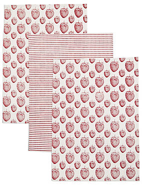 Set of 3 Strawberry Print Tea Towel, , catlanding