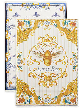 Set of 2 Ardingly Bee's Tea Towels