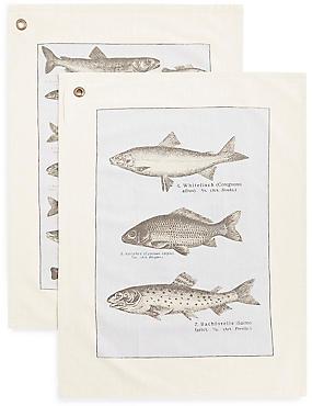 Chef Set of 2 Fish Tea Towels, , catlanding