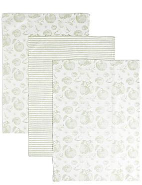 Set of 3 Apple Kitchen Print Tea Towels, , catlanding