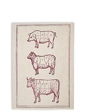 Butchers Trio Print Tea Towel