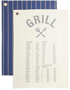 Grill Set of 2 Tea Towels, , catlanding