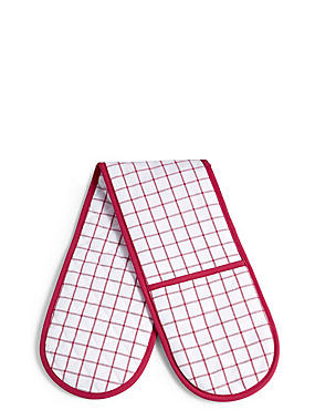 Cooks Checked Double Oven Glove, RED, catlanding