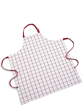 Cooks Checked Apron, RED, catlanding