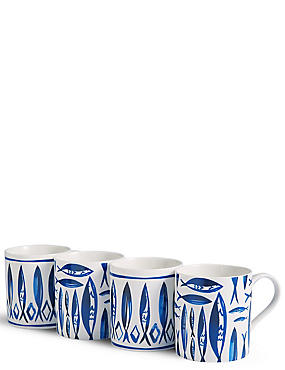 Set of 4 Nautical Mugs