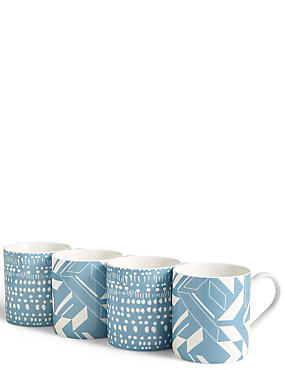 Set of 4 Geo Mugs