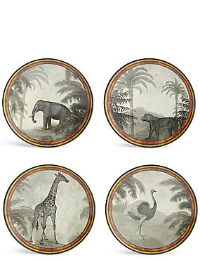 Set of 4 Safari Melamine Side Plates