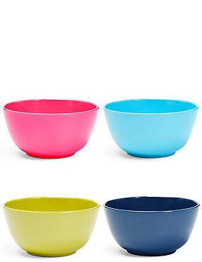 Set of 4 Mixed Colour Melamine Bowls