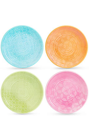 Set of 4 Summer Bright Melamine Dinner Plates