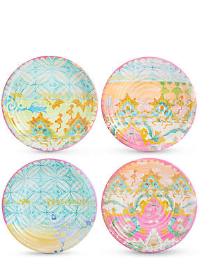 Set of 4 Summer Bright Melamine Side Plates