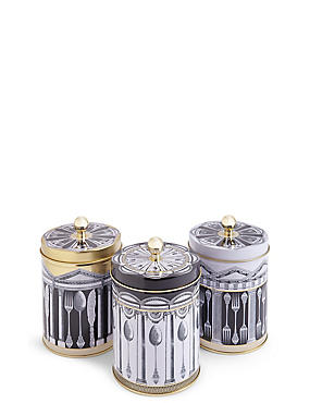 Set of 3 Manhattan Tea, Coffee & Sugar Tins