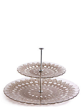 Pressed Glass 2 Tier Cake Stand