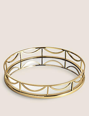 Deco Round Mirror Tray, GOLD MIX, catlanding