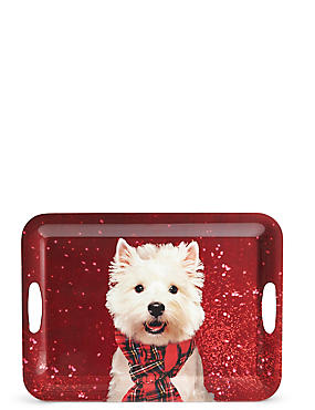 Christmas Dog Rectangular Tray