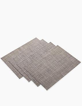 4 Pack Metallic Placemats, SILVER MIX, catlanding