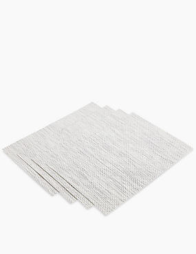 4 Pack Metallic Placemats, WHITE MIX, catlanding