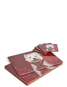 Set of 4 Christmas Dog Placemat & Coaster
