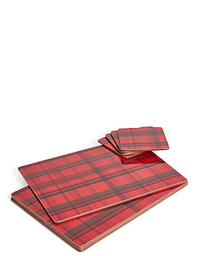 Set of 4 Tartan Placemat & Coaster