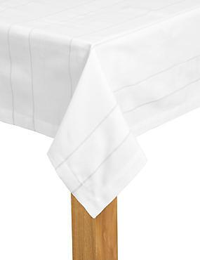 Woven Stripe Tablecloth, GREY, catlanding