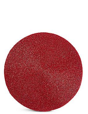 Beaded Placemat, DARK RED, catlanding