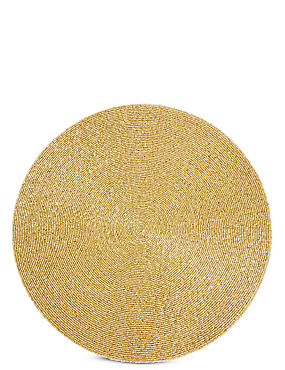 Beaded Placemat, GOLD, catlanding