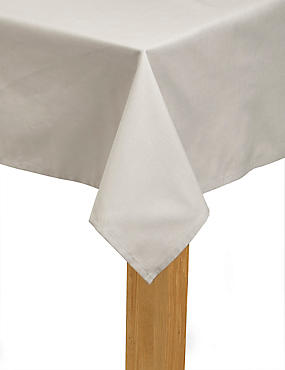 Plain Cotton Tablecloth, NATURAL, catlanding