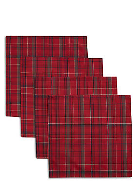 Set of 4 Tartan Napkins, RED MIX, catlanding